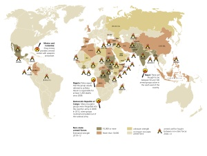 As international organisations and aid-giving governments find better solutions for inter-state wars civil wars, the rest of the spectrum of violent conflict takes on clearer shape (image from The State of the World Atlas, pp 60-61).