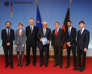 Most of the research team presenting A New Climate for Peace to German Foreign Minister Frank-Walter Steinmeier, 14 April 2015